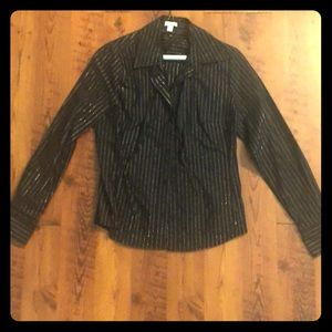 Black Collared Shirt with Silver Stripes